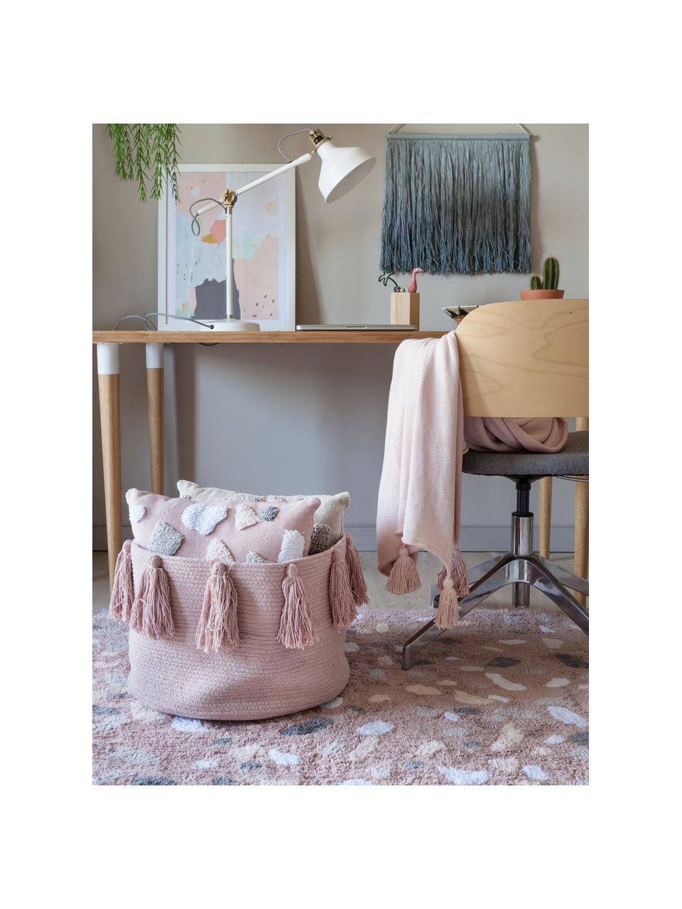 Aufbewahrungskorb Tassels, 97% Baumwolle, 3% recycelte Baumwolle, Rosa, Ø 45 x H 30 cm