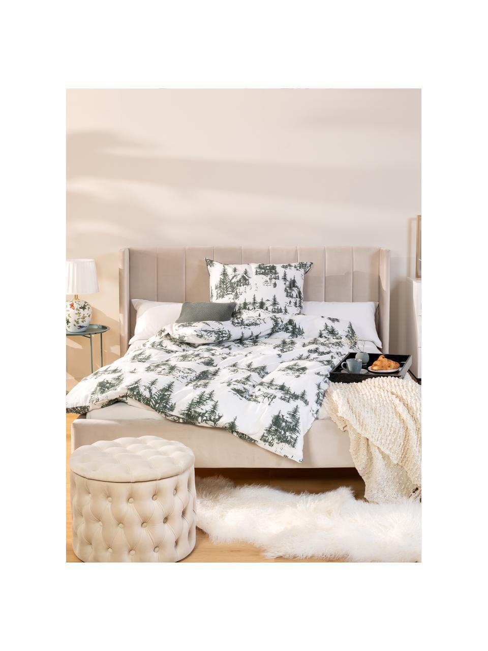 Flanell-Bettwäsche Nordic mit winterlichem Motiv in Grün/Weiß, Webart: Flanell Flanell ist ein k, Grün, Weiß, 135 x 200 cm + 1 Kissen 80 x 80 cm