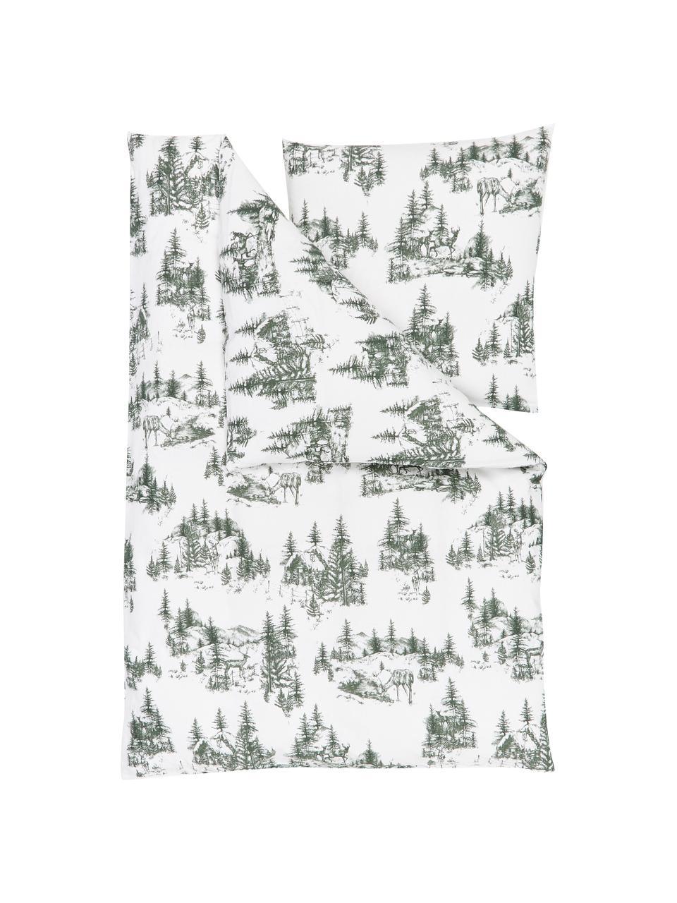 Pościel z flaneli Nordic, Zielony, biały, 240 x 220 cm + 2 poduszki 80 x 80 cm