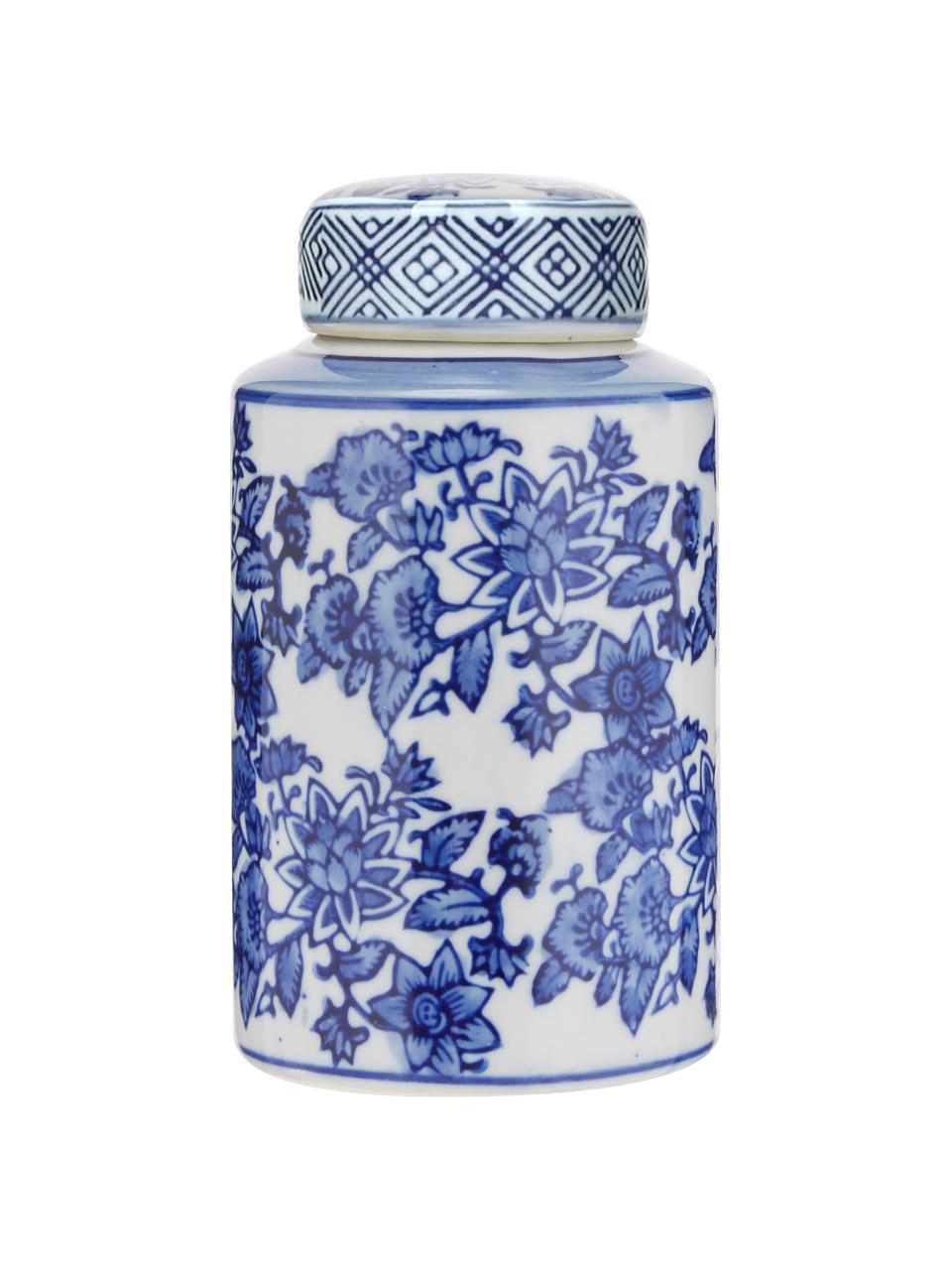 Mały wazon z porcelany z pokrywką Annabelle, Porcelana, Niebieski, biały, Ø 8 x W 14 cm