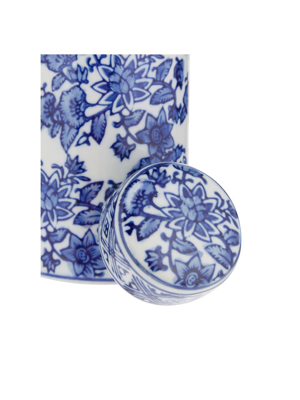 Vaso in porcellana  con coperchio Annabelle, Porcellana, Blu,bianco, Ø 8 cm x Alt. 14 cm