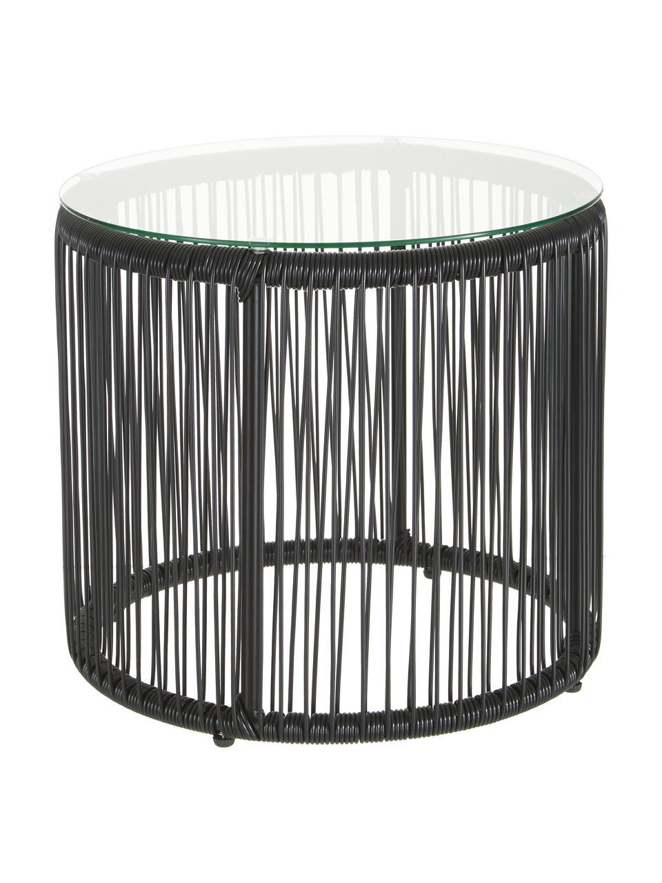 Tavolino con intreccio in plastica Bahia, Piano d'appoggio: vetro, spessore, Struttura: alluminio verniciato a po, Piano d'appoggio: trasparente Lati e struttura: nero, Ø 50 x Alt. 45 cm