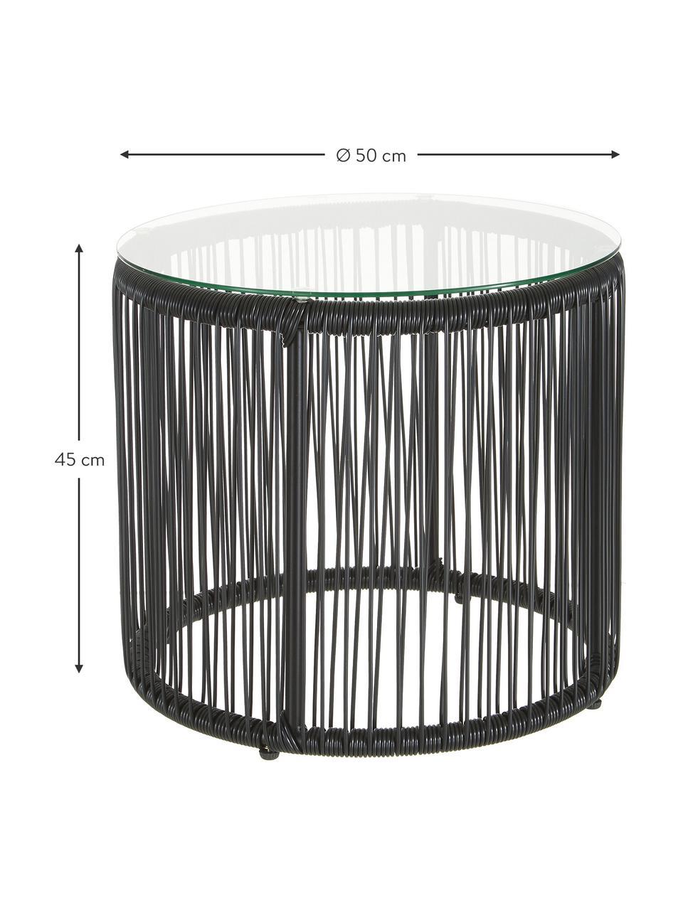 Stolik pomocniczy ze splotu z tworzywa sztucznego Bahia, Blat: szkło, Stelaż: aluminium malowane proszk, Czarny, Ø 50 x W 45 cm
