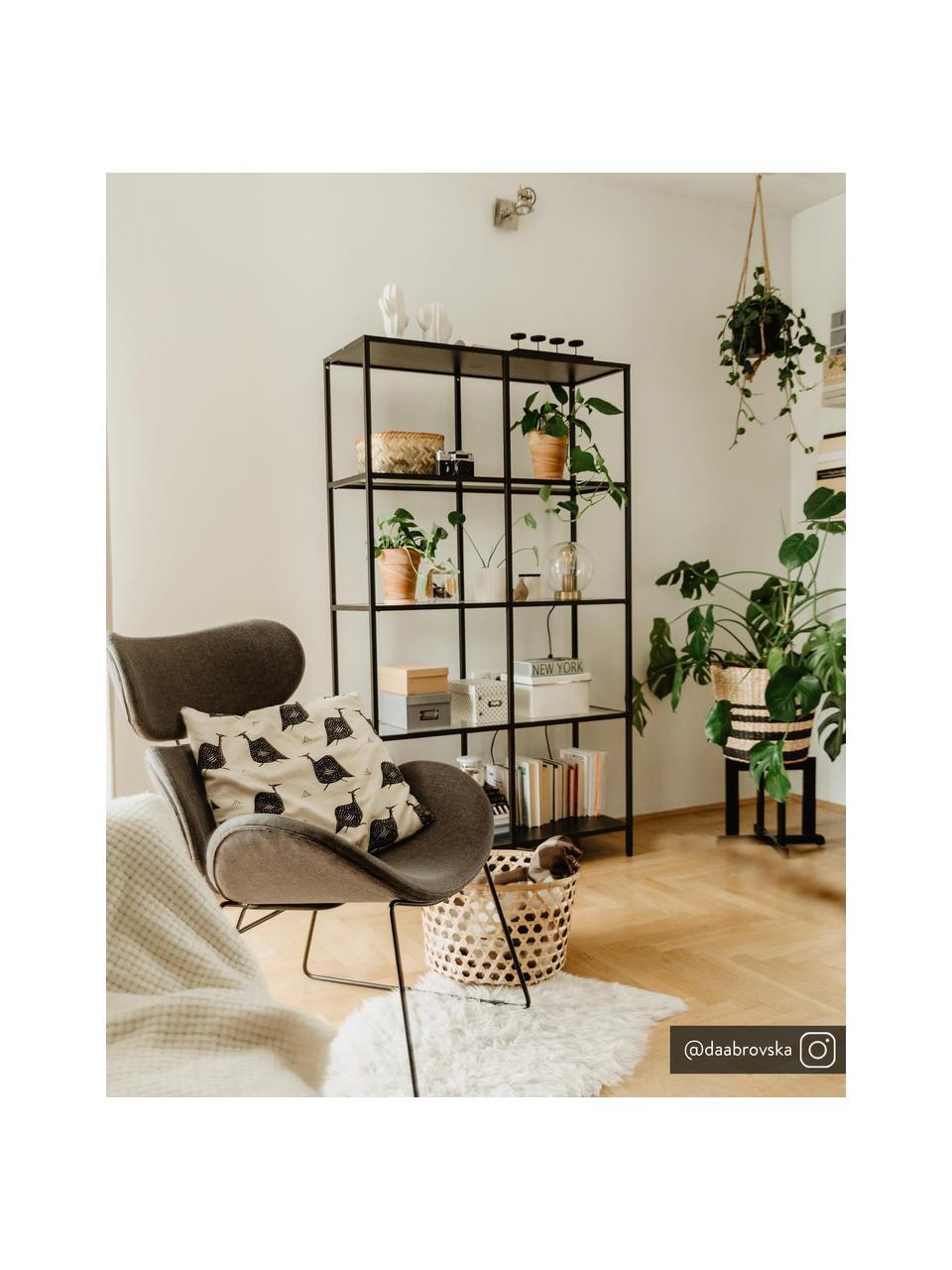 Moderne loungefauteuil Cazar in donkergrijs, Bekleding: polyester, Frame: gepoedercoat metaal, Geweven stof donkergrijs, B 69  x D 79 cm
