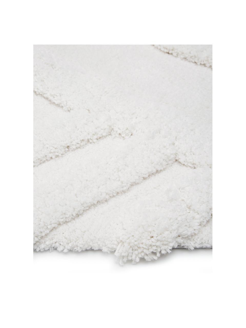 Zacht boho hoogpolig vloerkleed Magda met verhoogd hoog-laag patroon, Bovenzijde: microvezels (100% polyest, Onderzijde: 55% polyester, 45% katoen, Beige, B 200 x L 300 cm (maat L)