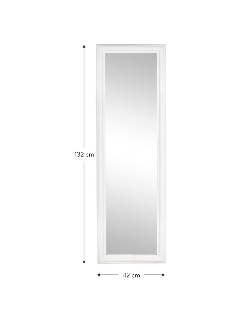Specchio da parete con cornice in legno Sanzio, Cornice: legno di paulownia rivest, Superficie dello specchio: lastra di vetro, Bianco, Larg. 42 x Alt. 132 cm