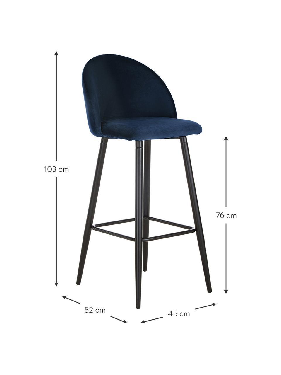 Sedia da bar in velluto blu scuro Amy, Rivestimento: velluto (poliestere) Il r, Gambe: metallo verniciato a polv, Velluto blu scuro, Larg. 45 x Alt. 103 cm