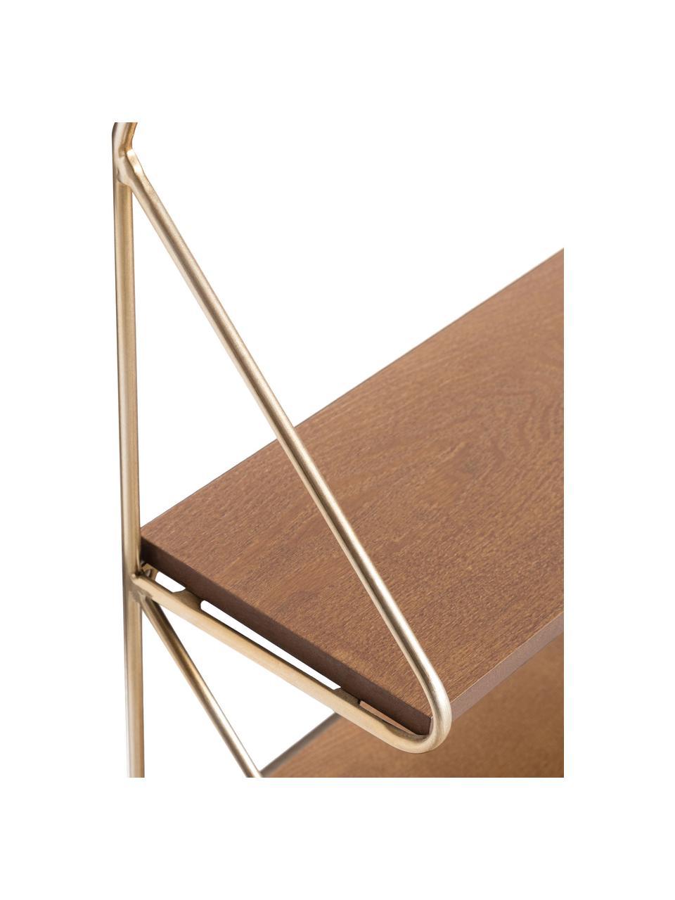 Mała półka ścienna Catrina, Stelaż: metal lakierowany, Brązowy, odcienie złotego, S 51 x W 42 cm