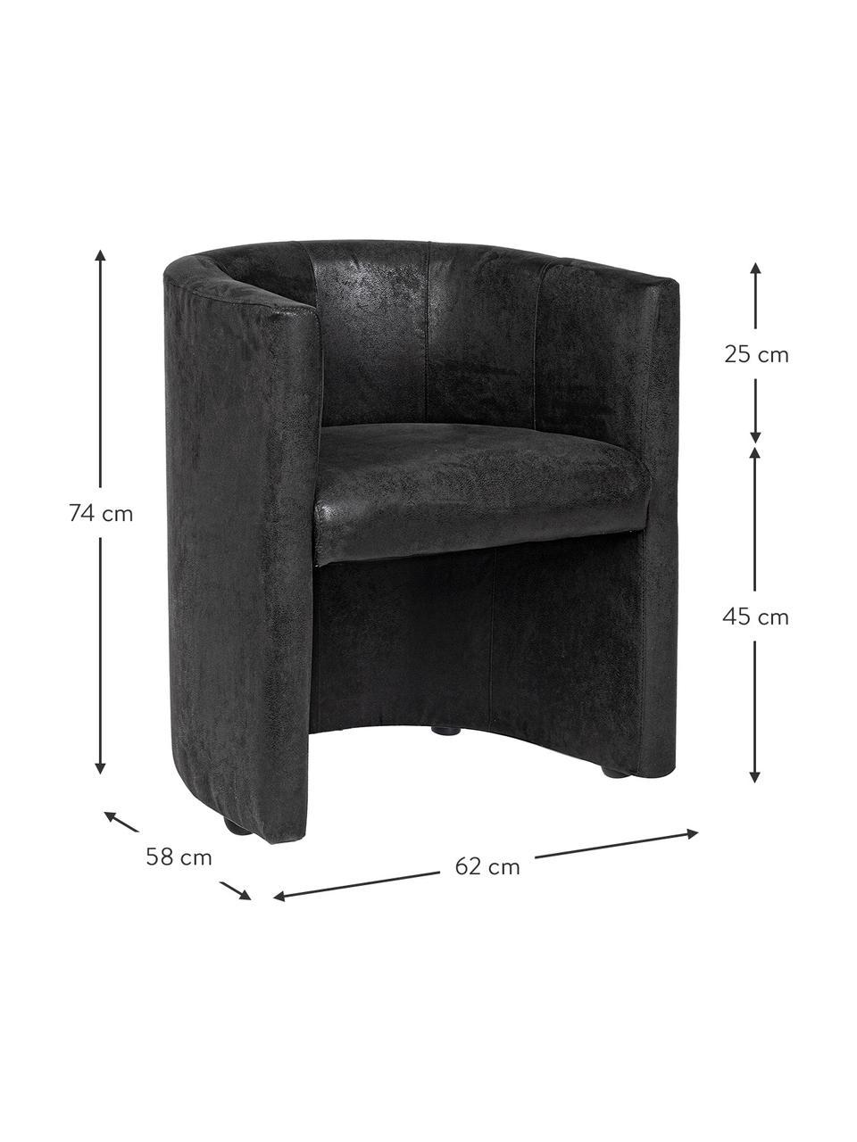 Fotel Corfu, Tapicerka: poliester z imitacją nubu, Nogi: tworzywo sztuczne, drewno, Stelaż: drewno sosnowe, Antracytowy, S 62 x G 58 cm