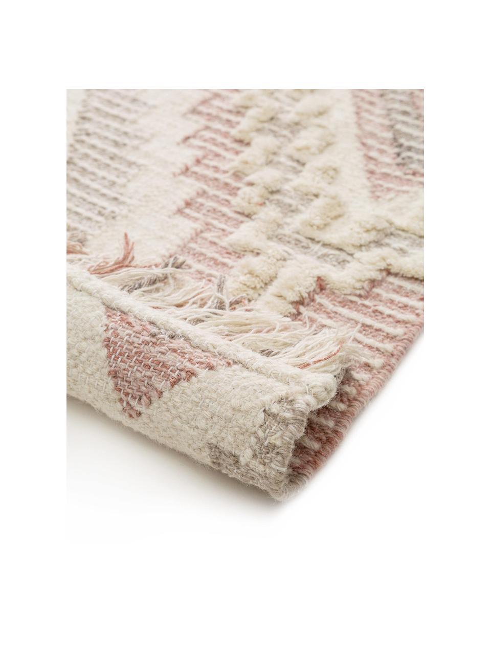Dywan z wełny w stylu boho z frędzlami Wanda, 70% wełna, 30% poliester Włókna dywanów wełnianych mogą nieznacznie rozluźniać się w pierwszych tygodniach użytkowania, co ustępuje po pewnym czasie, Blady różowy, szary, kremowy, S 160 x D 230 cm (Rozmiar M)