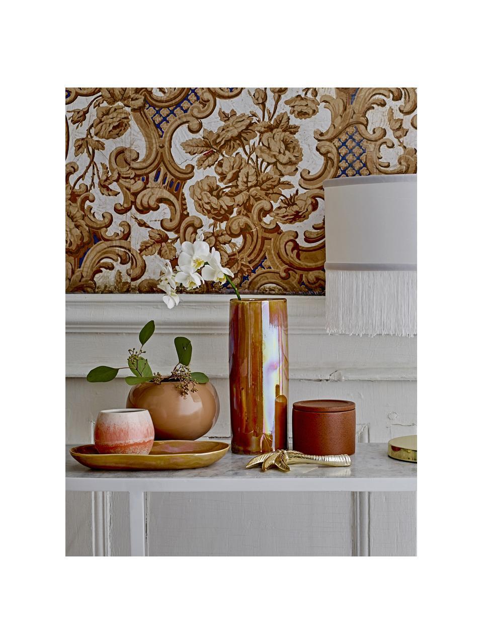 Ręcznie wykonany kubek Paula, Kamionka, Pomarańczowy, odcienie kremowego, Ø 9 x W 8 cm