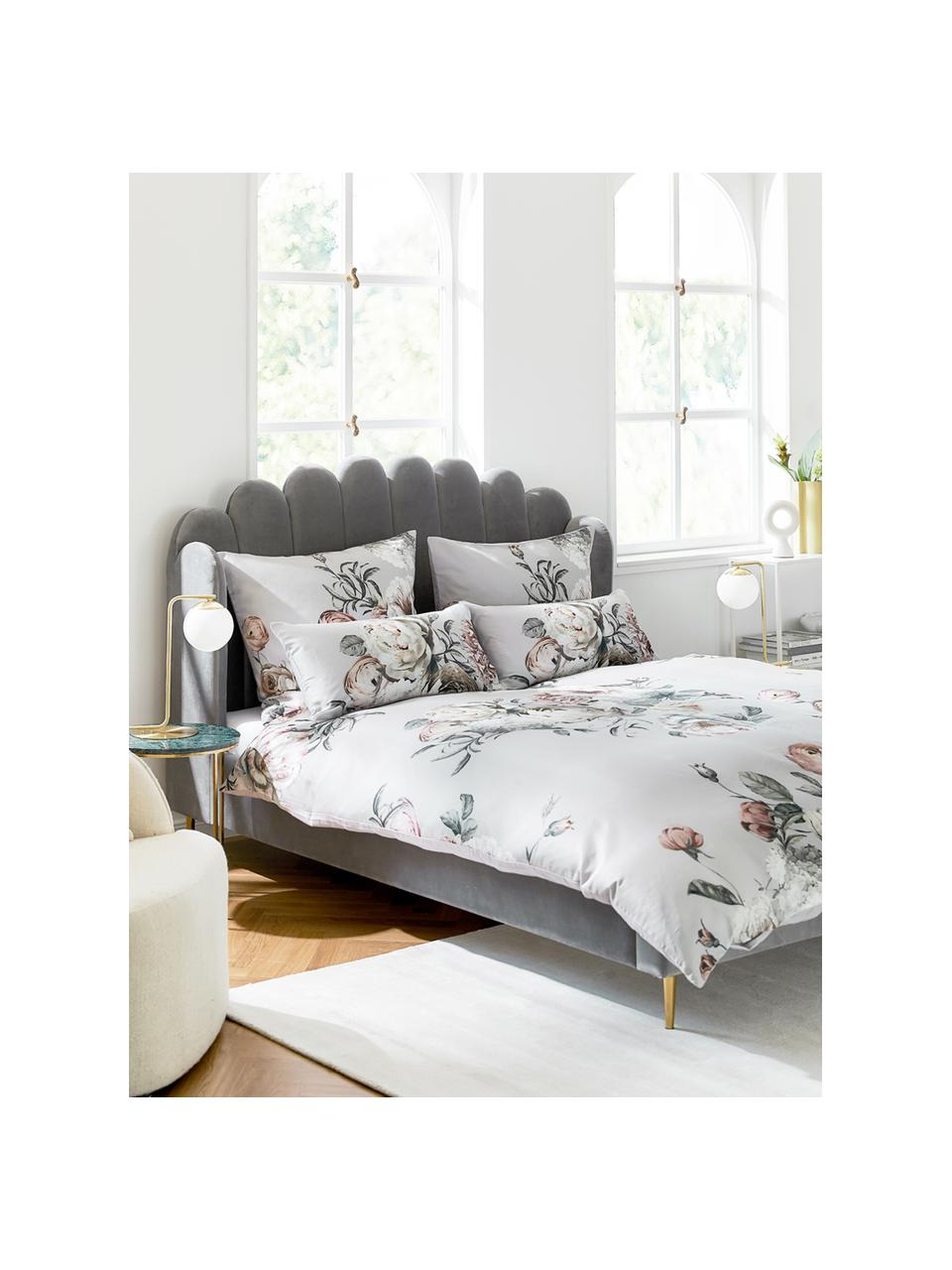 Gestoffeerd fluwelen bed Glamour in grijs, Frame: massief grenenhout, Poten: vermessingd metaal, Bekleding: fluweel (polyester), Fluweel grijs, 160 x 200 cm