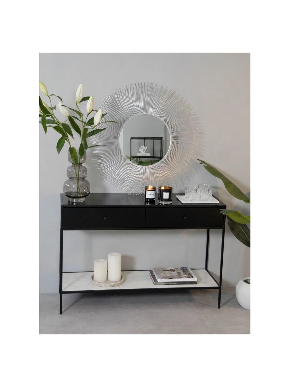 Miroir mural rond avec cadre argentéLilly, Couleur argentée