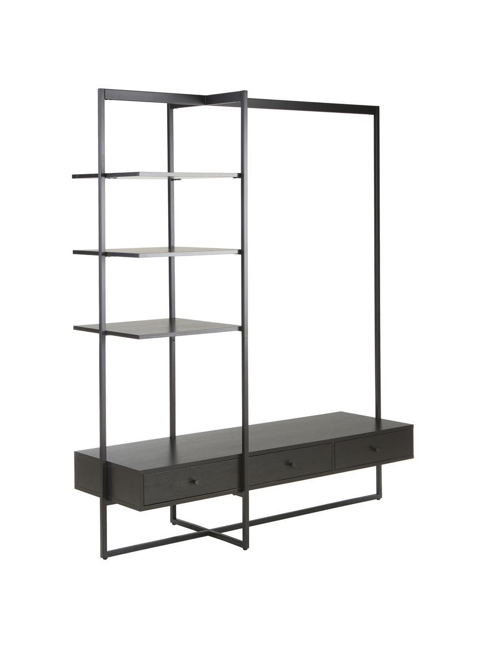 Open kledingkast Pacey in zwart, Frame: gepoedercoat metaal, Zwart, 150 x 180 cm