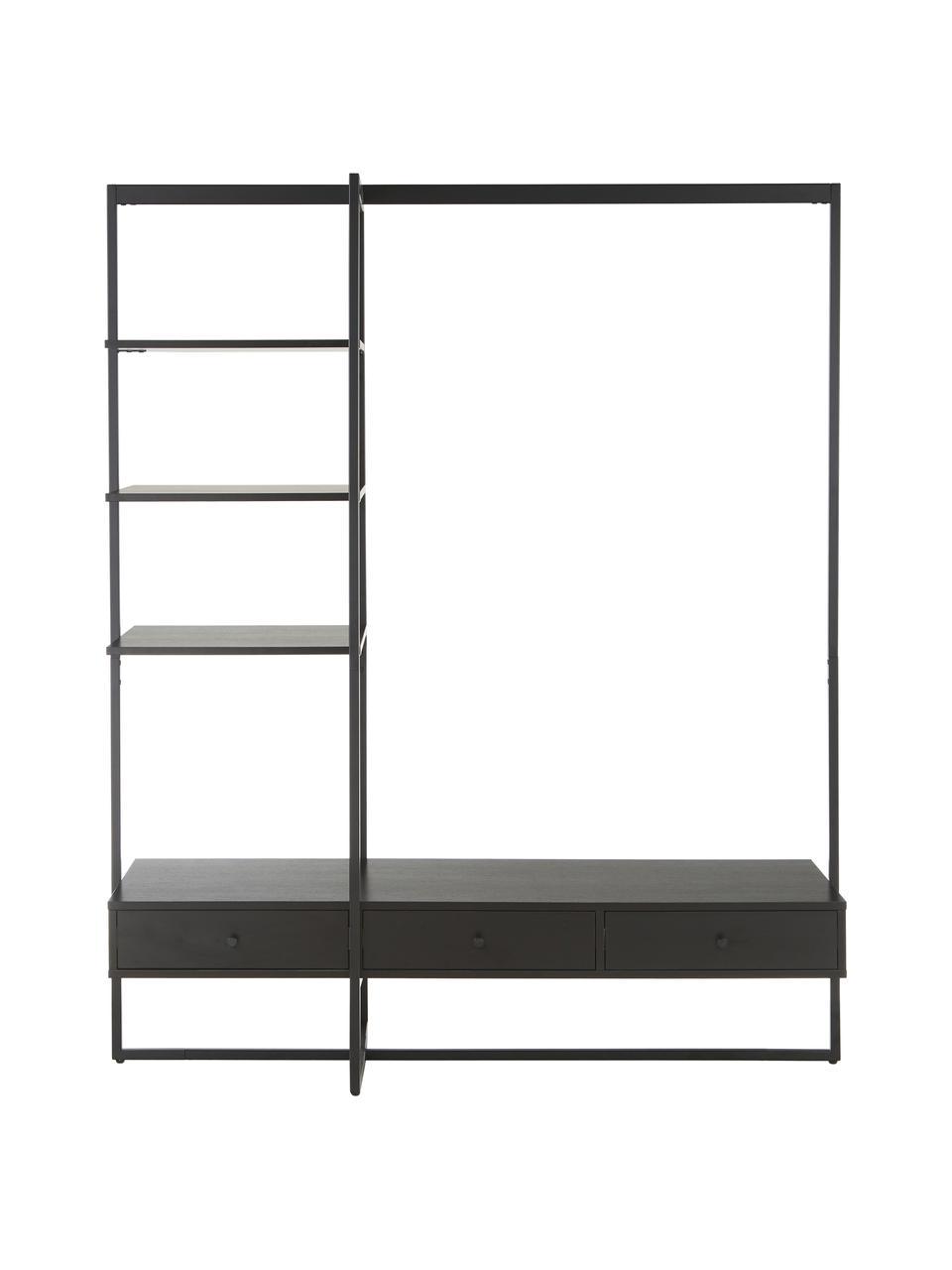 Otwarta szafa Pacey, Stelaż: metal malowany proszkowo, Czarny, S 150 x W 180 cm