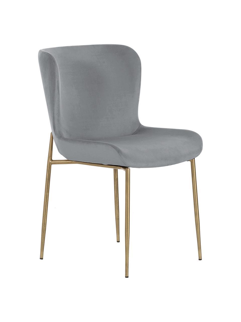Samt-Polsterstuhl Tess in Grau, Bezug: Samt (Polyester) Der hoch, Beine: Metall, pulverbeschichtet, Samt Grau, Beine Gold, B 49 x T 64 cm