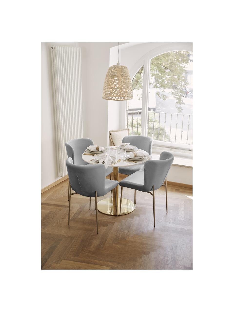 Fluwelen stoel Tess in grijs, Bekleding: fluweel (polyester), Poten: gepoedercoat metaal, Fluweel grijs, goudkleurig, B 49 x D 64 cm