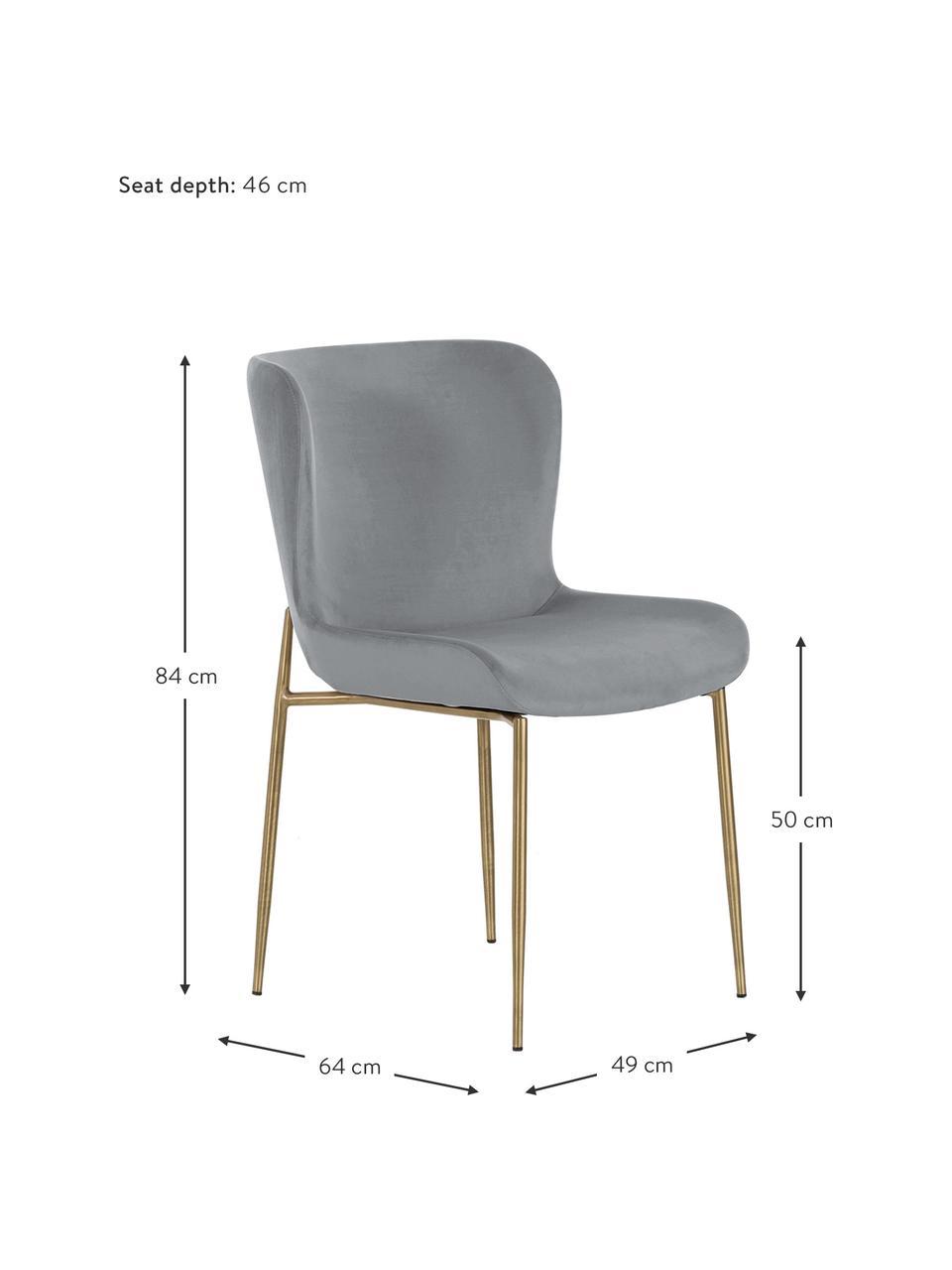 Krzesło tapicerowane z aksamitu Tess, Tapicerka: aksamit (poliester) Dzięk, Nogi: metal malowany proszkowo, Aksamitny szary, złoty, S 49 x G 64 cm