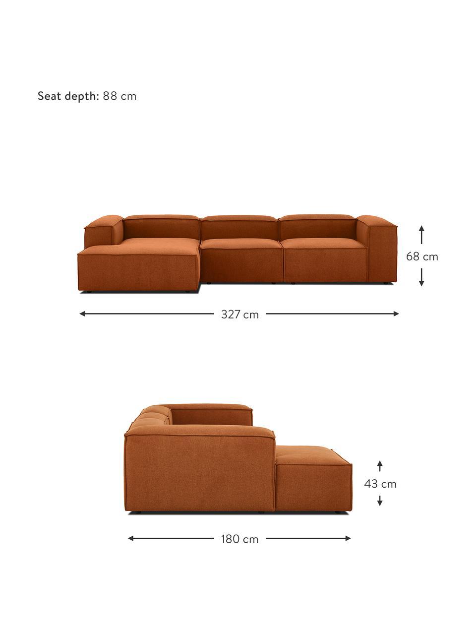 Canapé d'angle modulable terracotta Lennon, Tissu terracotta