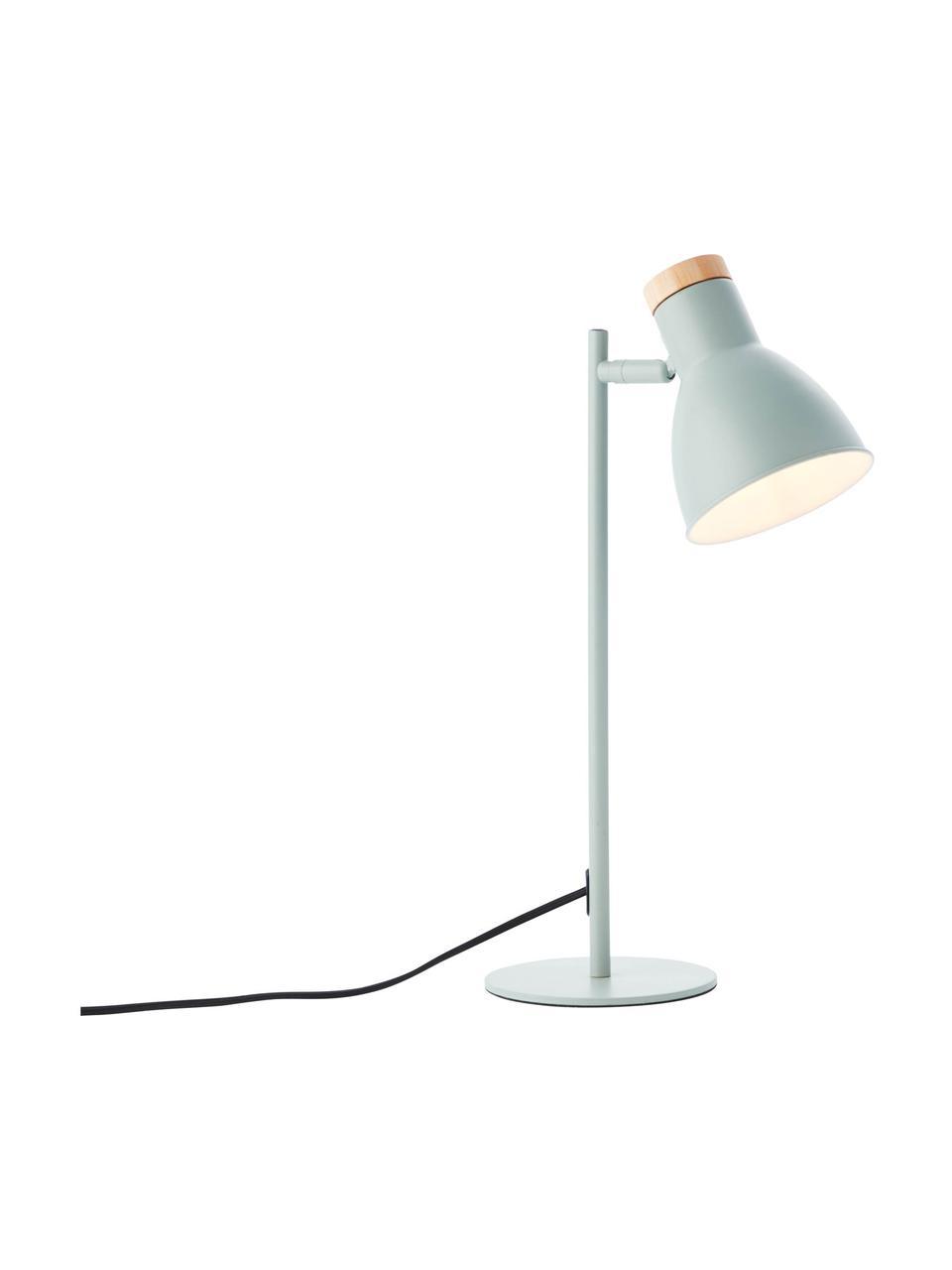 Lampa biurkowa Venea, Zielony miętowy, drewno naturalne, Ø 15  x W 47 cm