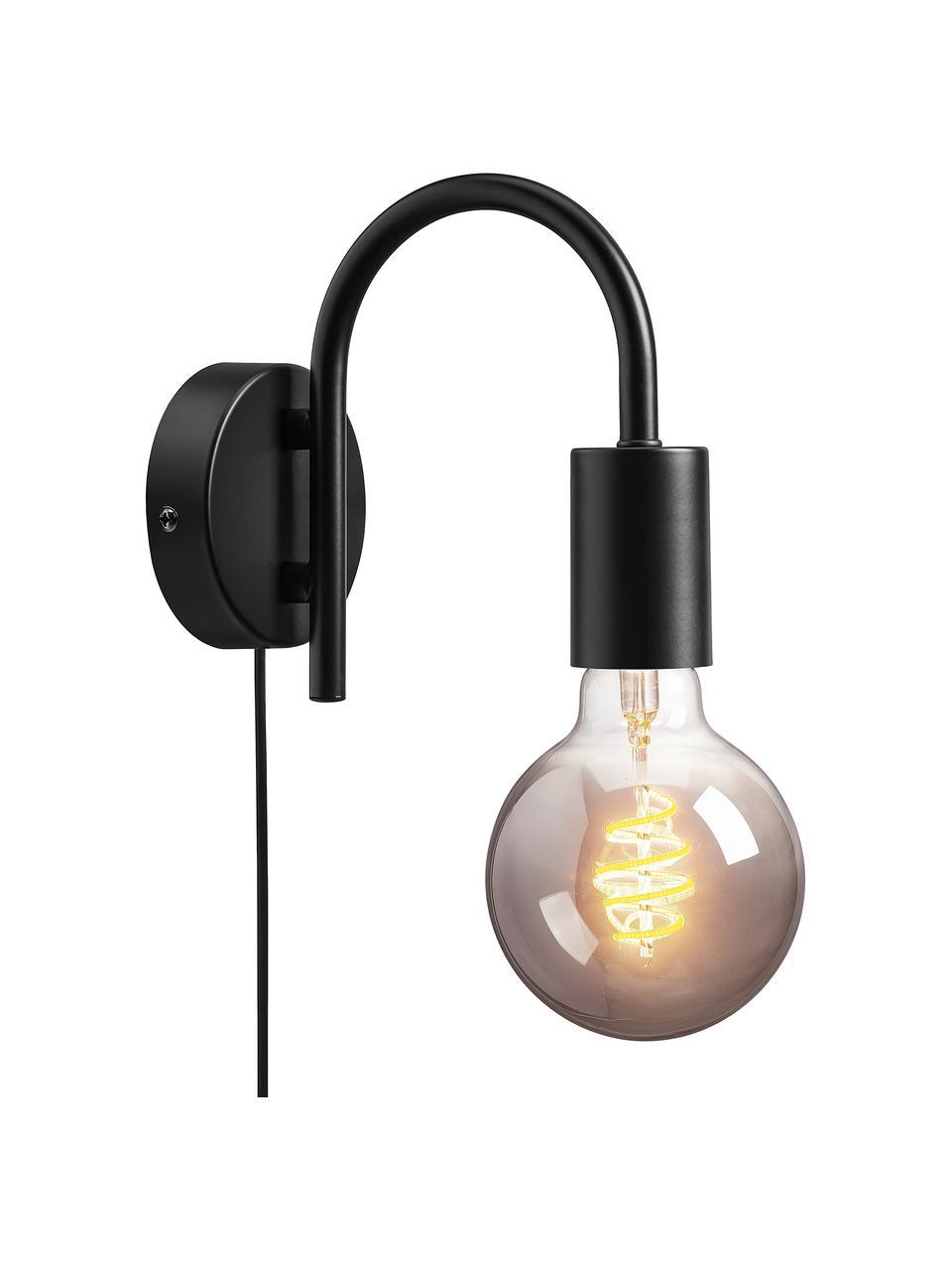 Wandleuchte Paccio mit Stecker, Lampenschirm: Metall, beschichtet, Schwarz, 9 x 16 cm
