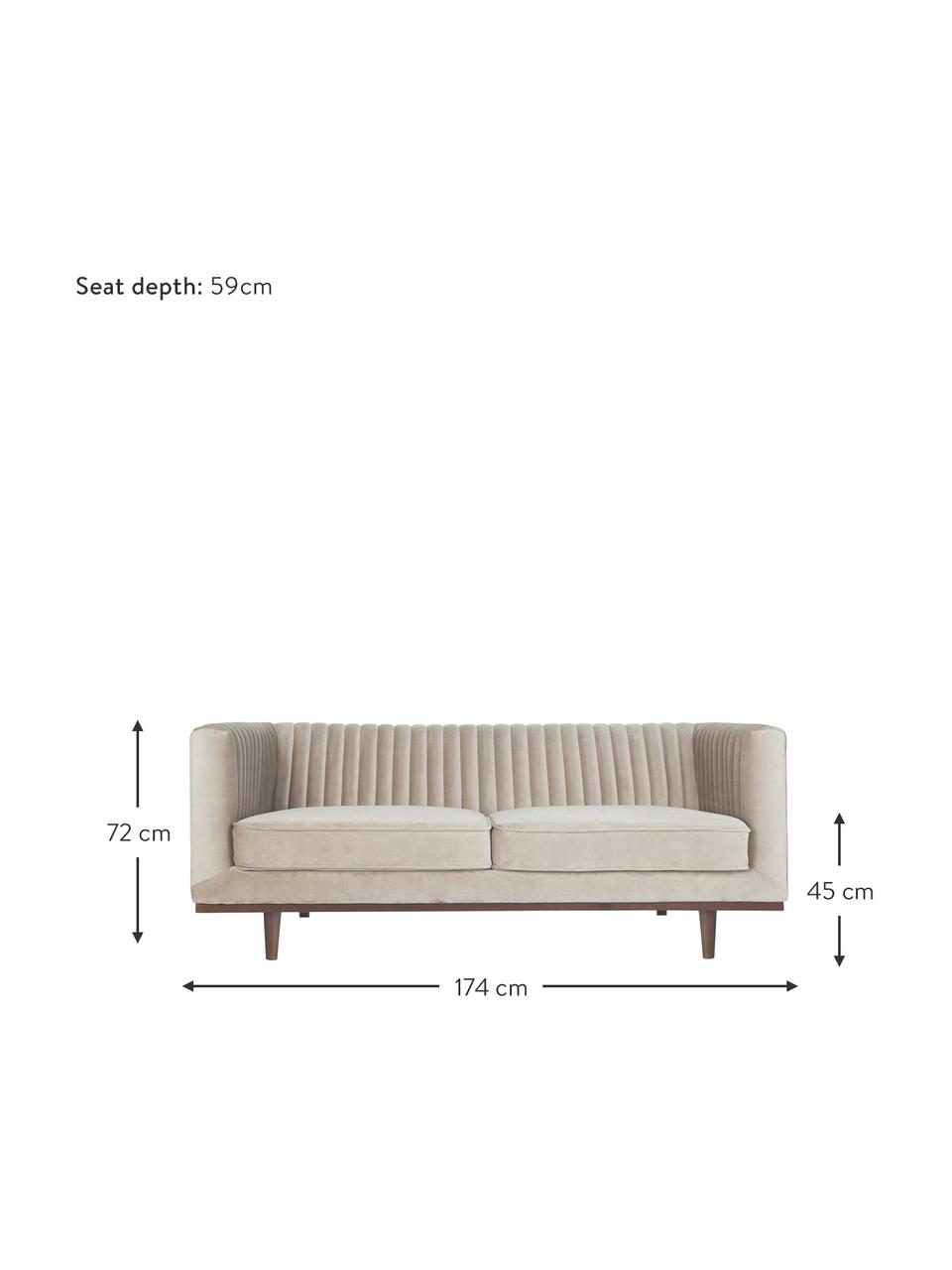 Sofá de terciopelo Dante (2plazas), Tapizado: terciopelo de poliéster, Estructura: madera de caucho lacada, Tejido beige, An 174 x F 87 cm
