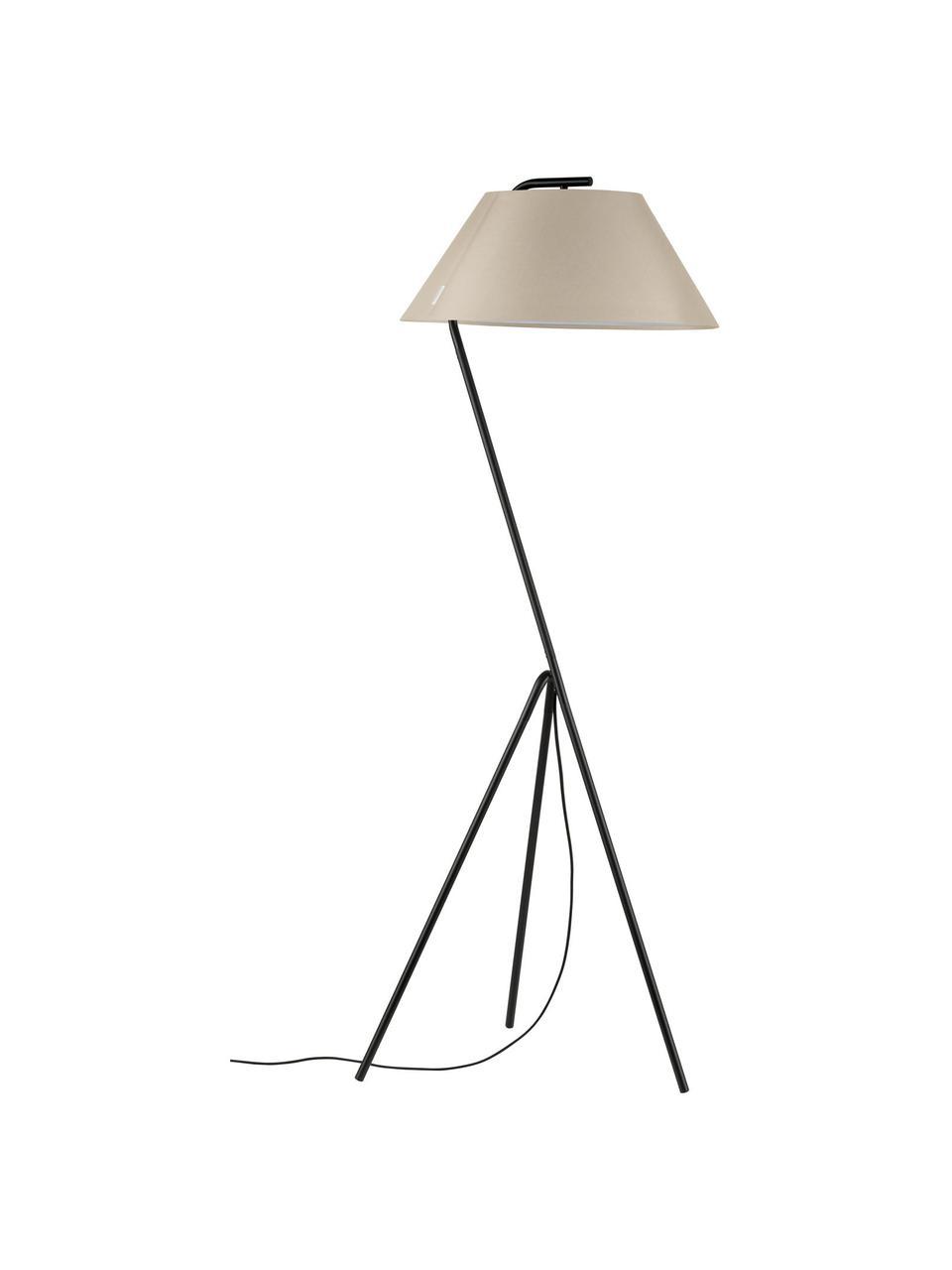 Dimbare tripod vloerlamp Narve, Lampenkap: textiel, Lampvoet: gecoat metaal, Beige, zwart, 53 x 154 cm
