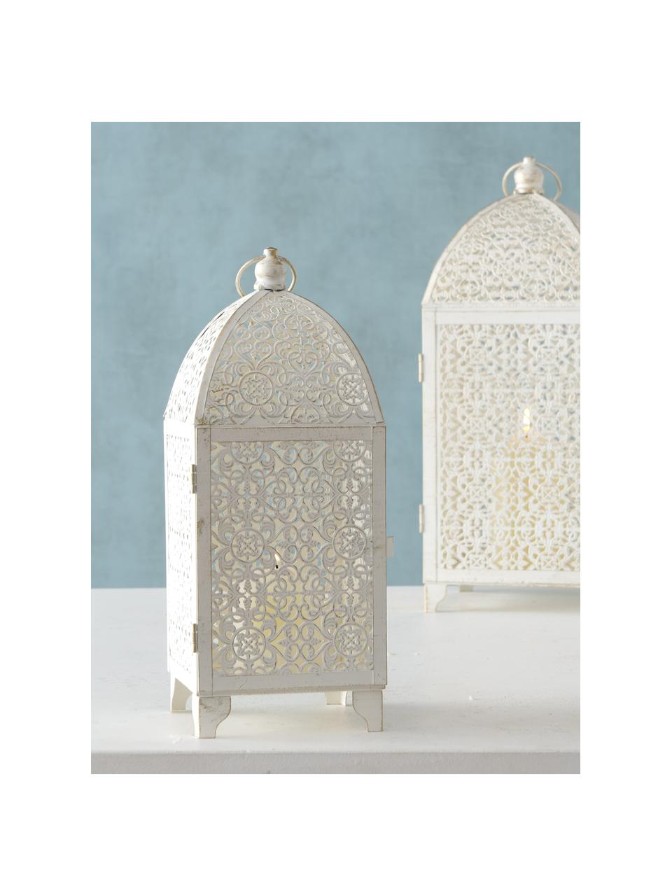 Set de farolillos Oleano, 2uds., Estructura: metal recubierto, Blanco con efecto envejecido, Set de diferentes tamaños