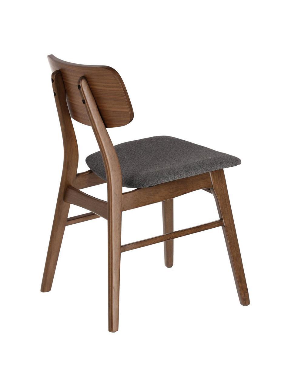 Krzesło z drewna Selia, 2 szt., Stelaż: lite drewno kauczukowe, f, Tapicerka: poliester, Ciemny szary, ciemny brązowy, S 48 x G 53 cm