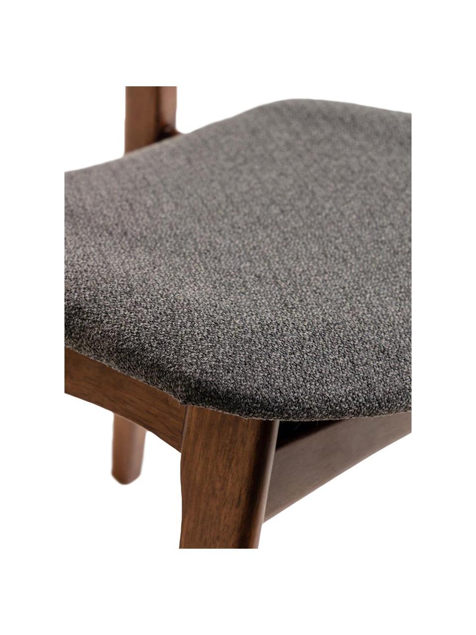 Holzstühle Selia, 2 Stück, Gestell: Massives Gummibaumholz, W, Bezug: Polyester, Dunkelgrau, Dunkelbraun, 48 x 79 cm