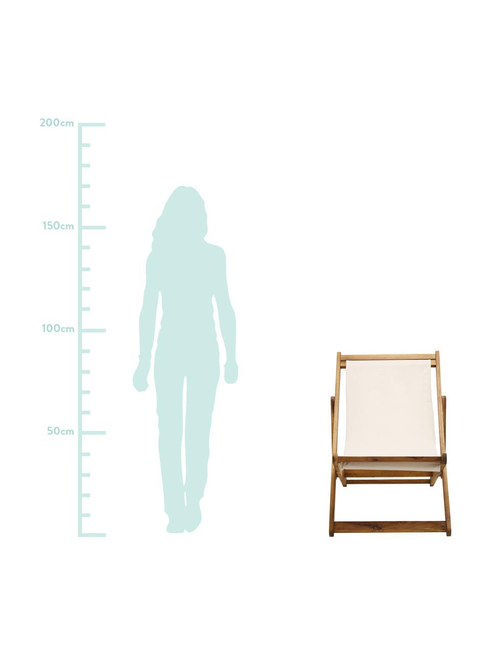 Klappbarer Liegestuhl Zoe, Gestell: Massives Akazienholz, geö, Weiß, B 59 x T 84 cm