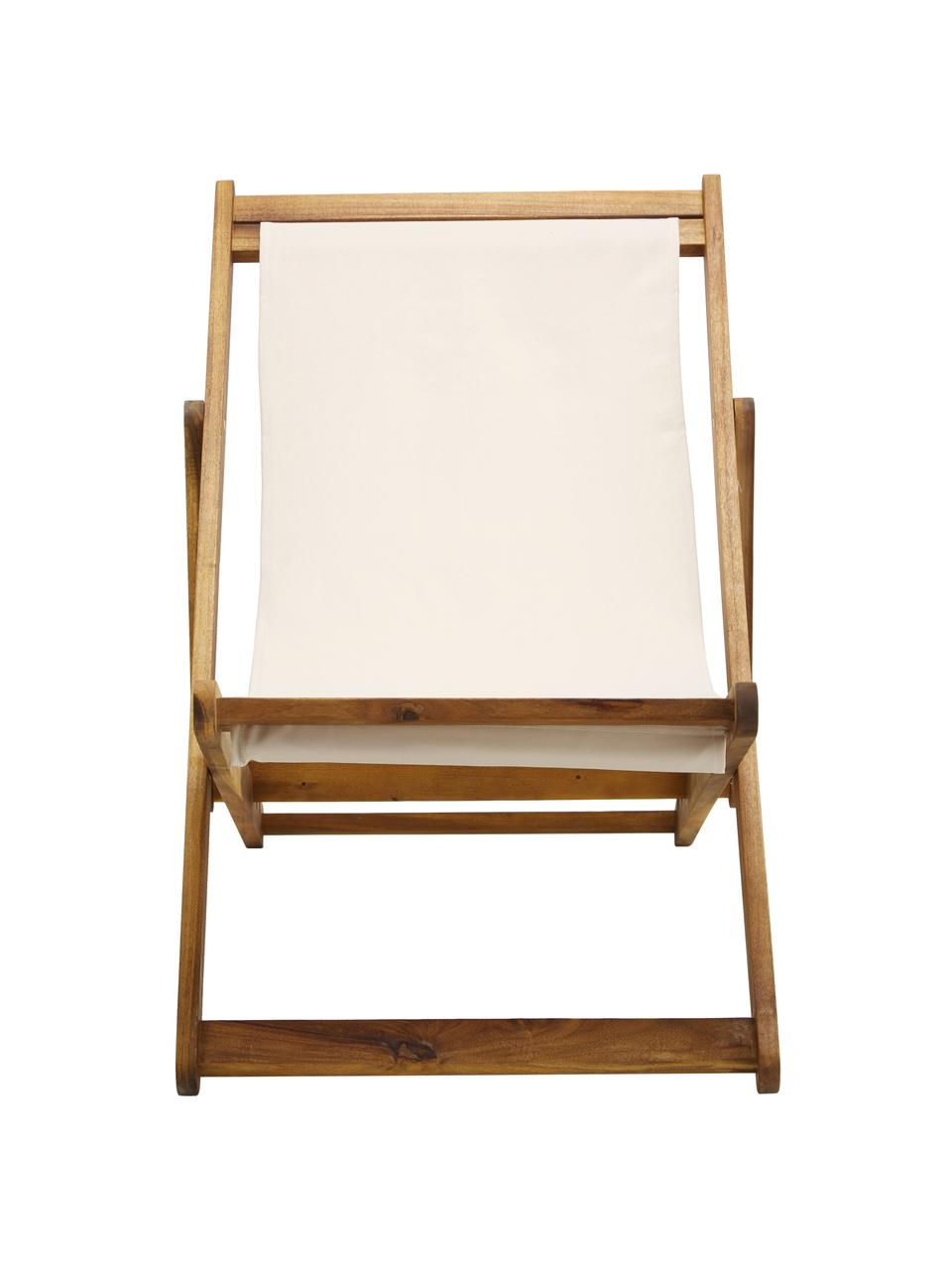 Inklapbare ligstoel Zoe, Frame: geolied acaciahout, Wit, B 59 x D 91 cm