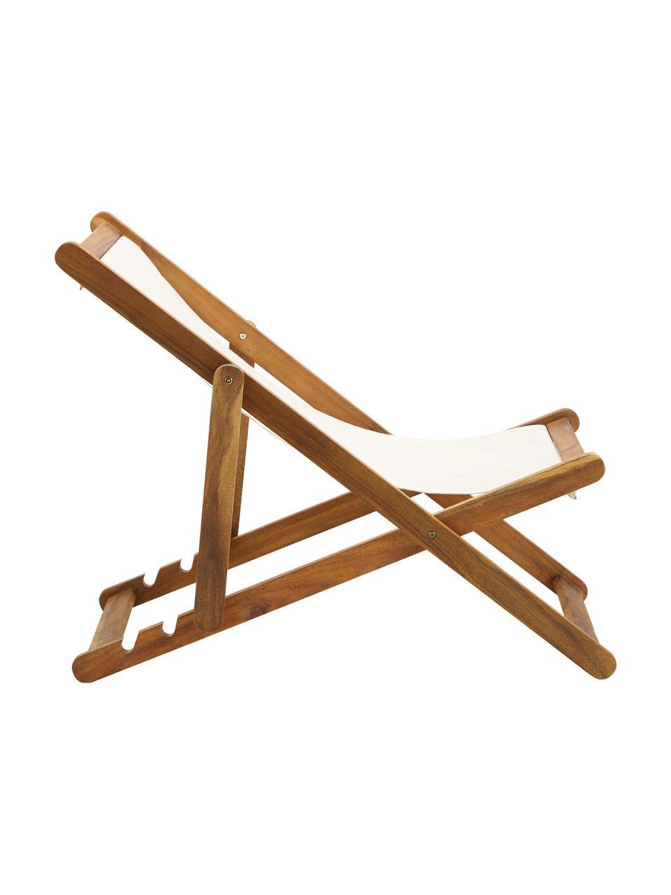 Sedia a sdraio pieghevole Zoe, Struttura: legno di acacia massiccio, Bianco, Larg. 59 x Prof. 84 cm