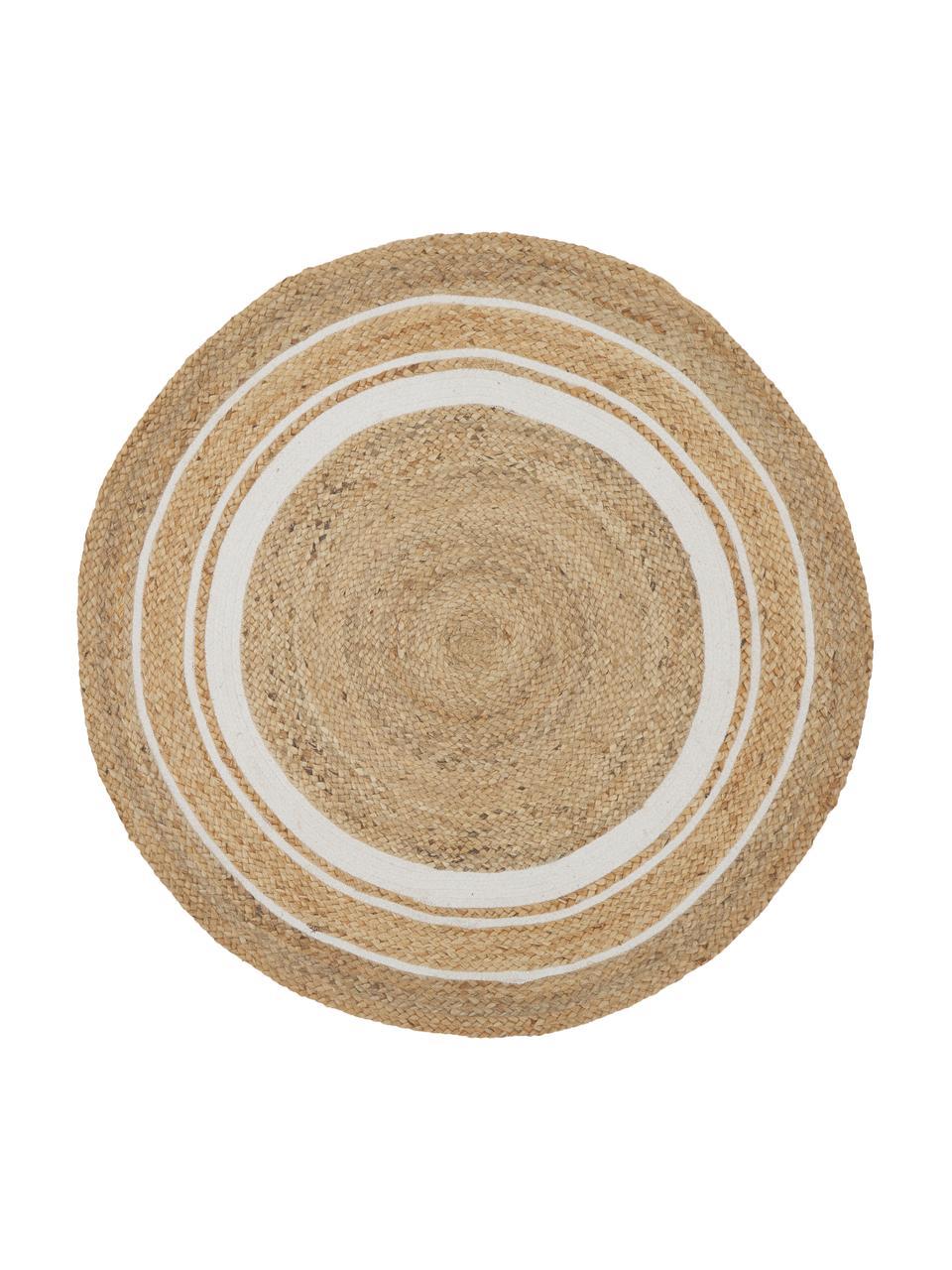 Tappeto rotondo in juta fatto a mano Clover, 75 % juta 24 % cotone  1 % poliestere, Beige, bianco, Ø 120 cm (taglia S)