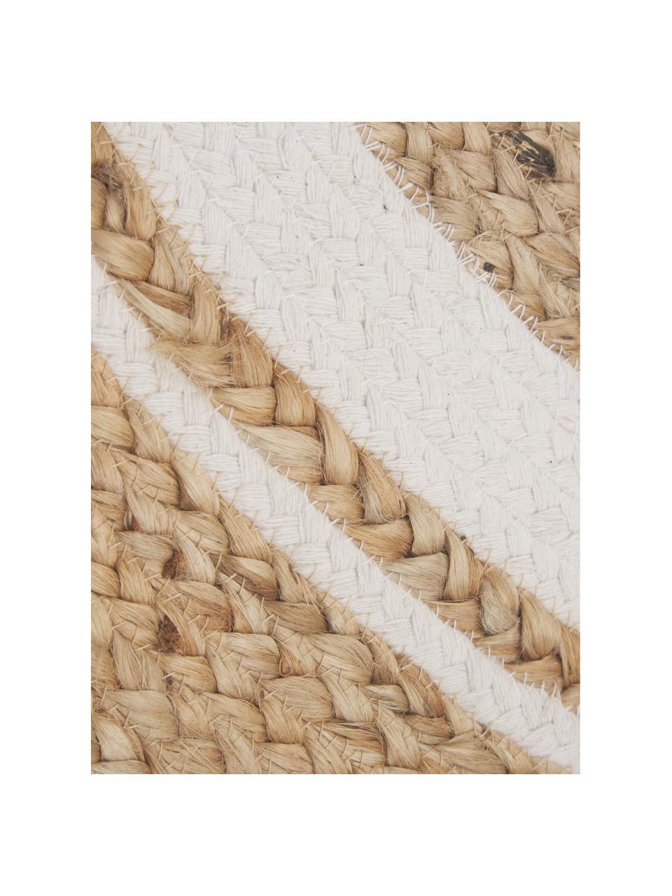 Handgefertigter Jute-Teppich Clover, 75 % Jute, 24 % Baumwolle, 1 % Polyester, Beige, Weiß, Ø 120 cm (Größe S)
