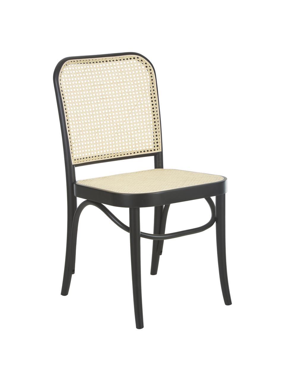 Chaise en cannage Franz, Bois noir