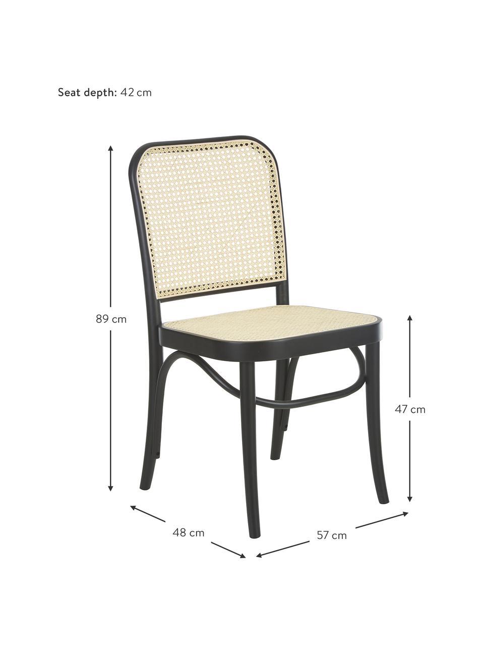 Sedia in legno con intreccio viennese Franz, Struttura: legno di faggio massiccio, Legno nero, Larg. 48 x Alt. 89 cm