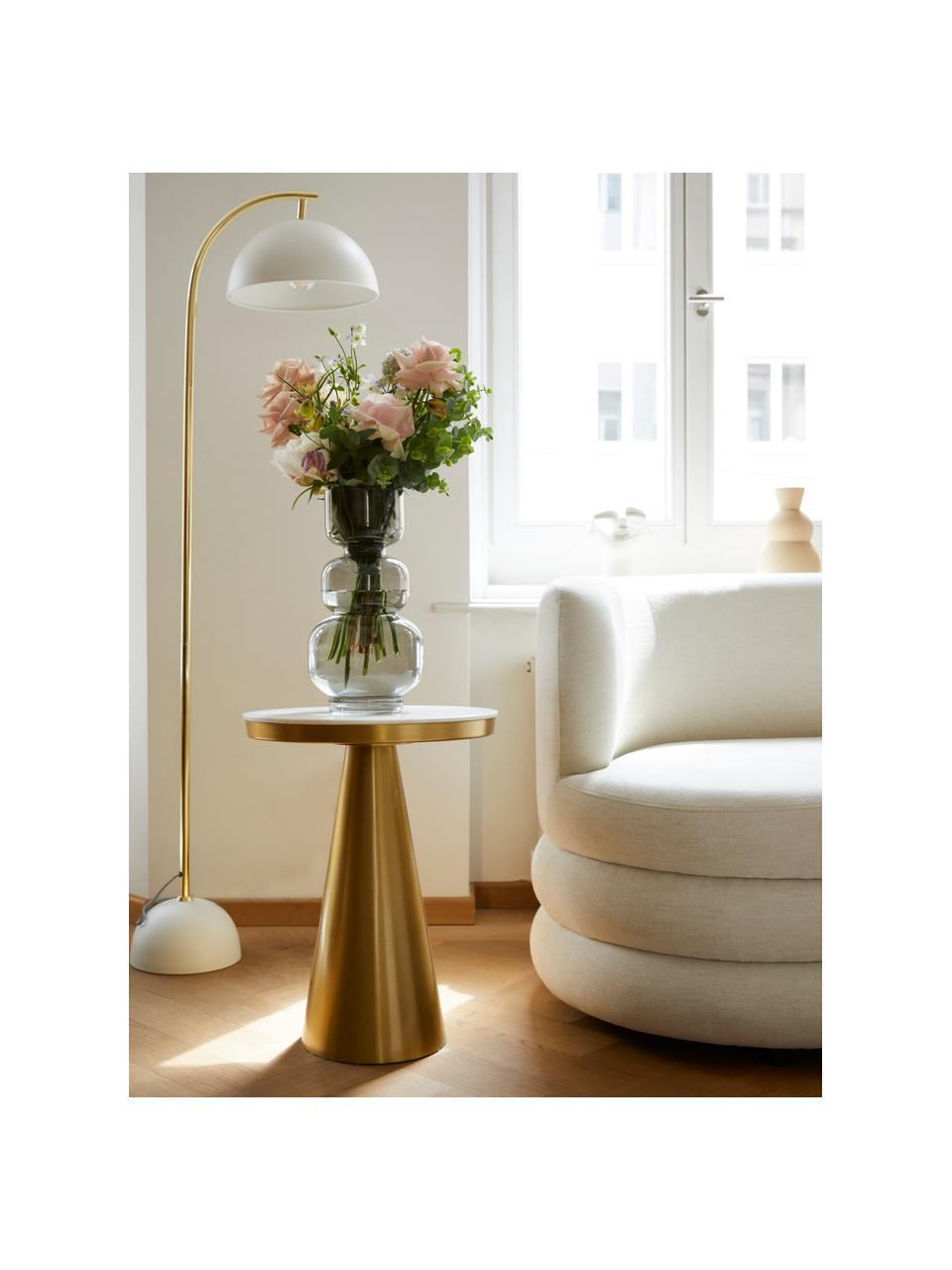 Table d'appoint ronde art déco Zelda, Marbre blanc-gris, couleur dorée