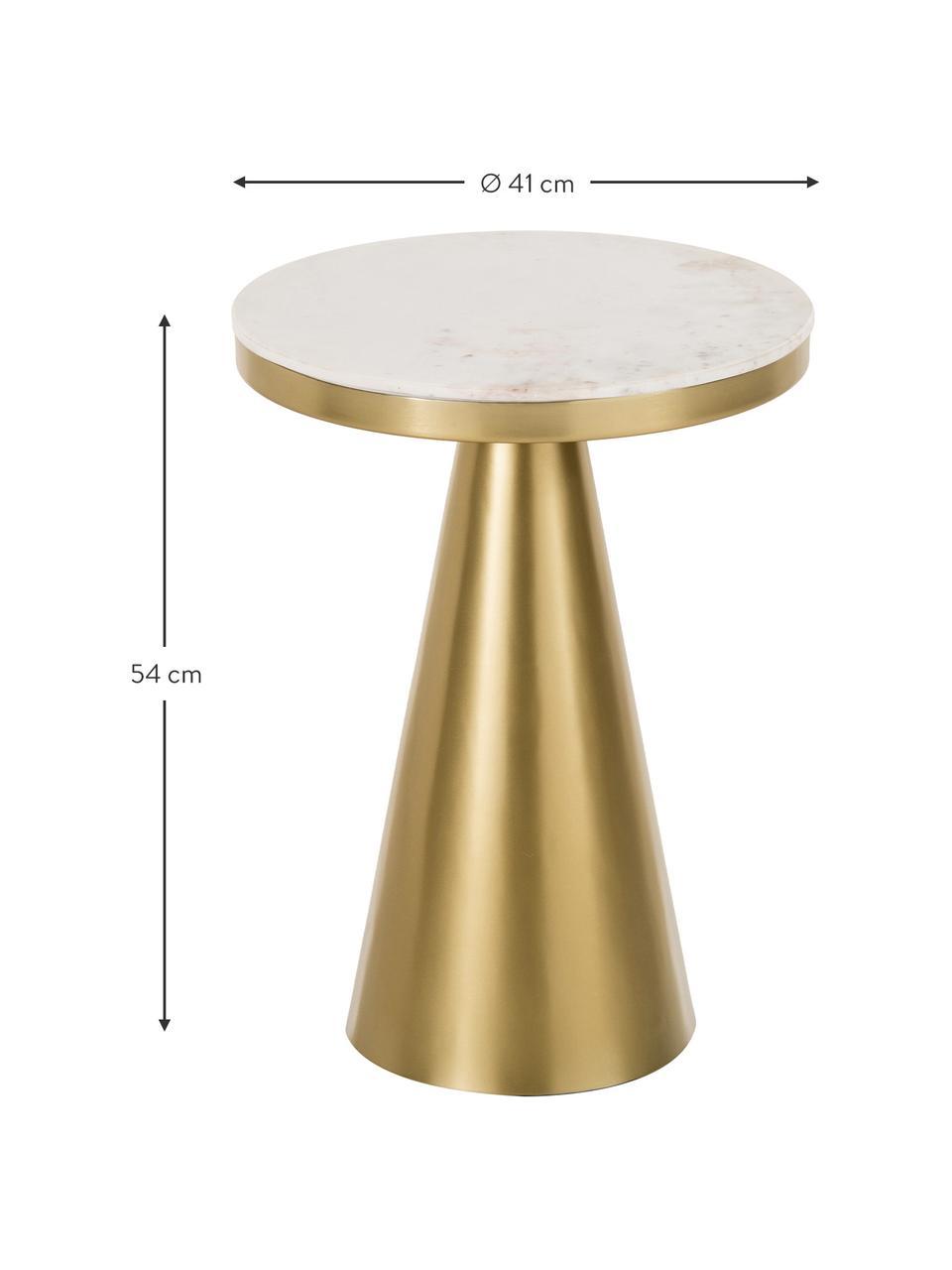 Tavolino da salotto rotondo in marmo Zelda, Piano d'appoggio: marmo, Struttura: metallo rivestito, Bianco-grigiastro marmo, dorato, Ø 41 x Alt. 54 cm