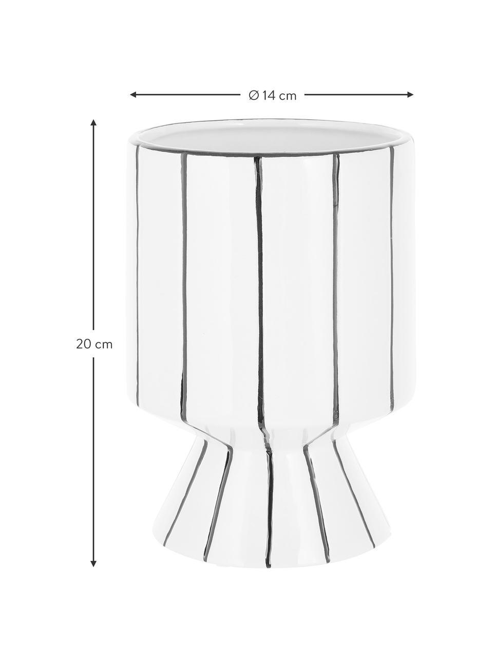 Portavaso rotondo in gres Reno, Gres, Bianco, nero, Ø 14 x Alt. 20 cm