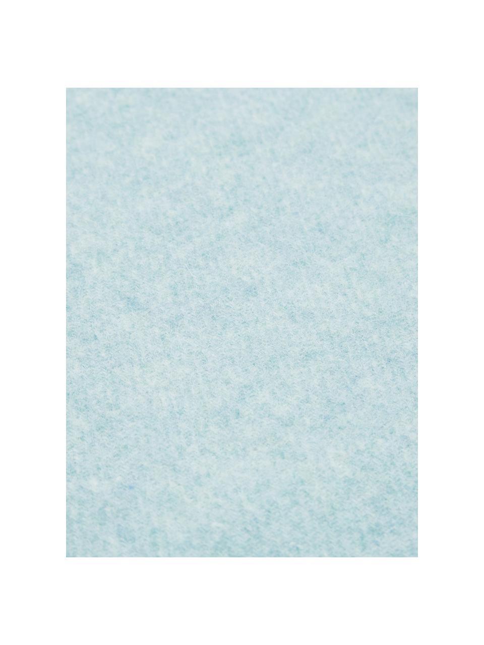 Leichte Wolldecke Patriciu mit Fransenabschluss, 100% Wolle, Grünblau, 130 x 170 cm