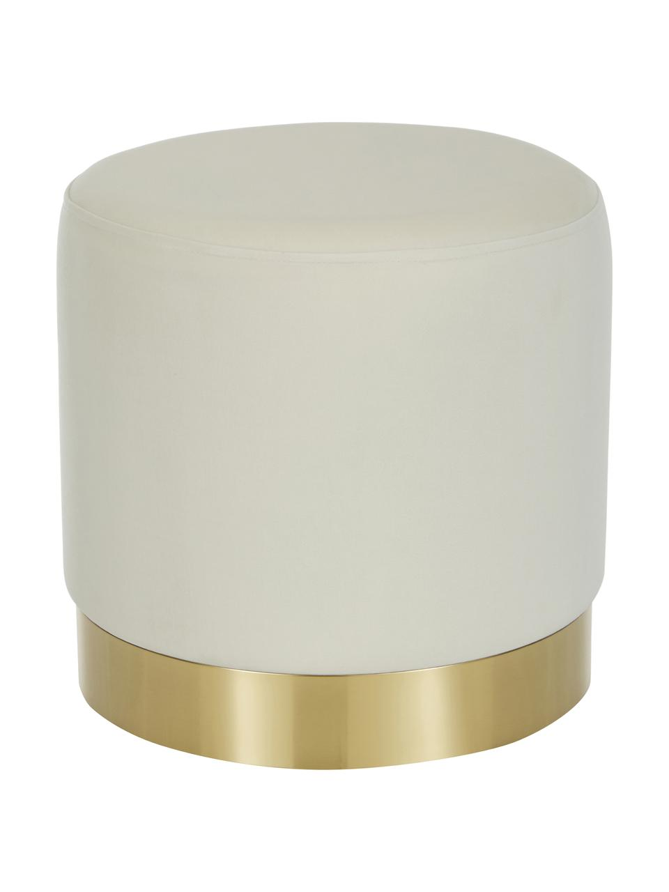 Puf z aksamitu Orchid, Tapicerka: aksamit (100% poliester) , Aksamitny kremowobiały, odcienie złotego, Ø 38 x W 38 cm