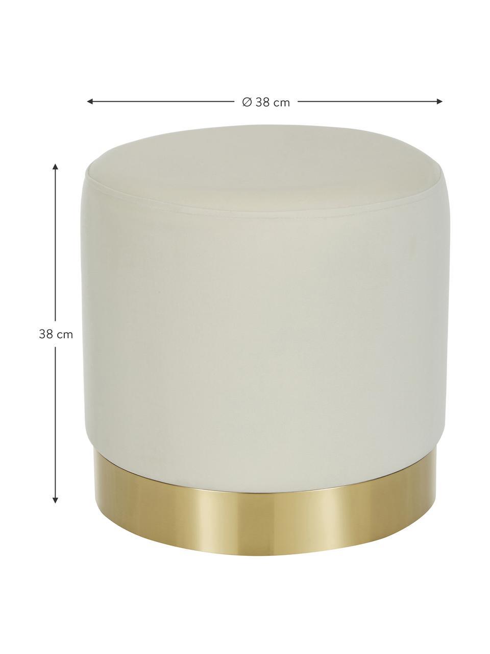 Pouf in velluto bianco crema Orchid, Rivestimento: velluto (100% poliestere), Struttura: compensato, Velluto bianco crema, dorato, Ø 38 x Alt. 38 cm