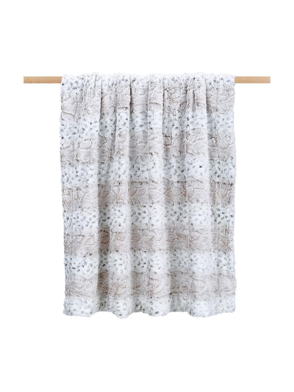 Kuscheldecke Vilnius aus Kunstfell, 100% Polyester, Cremefarben, Grau, Weiß, 125 x 150 cm