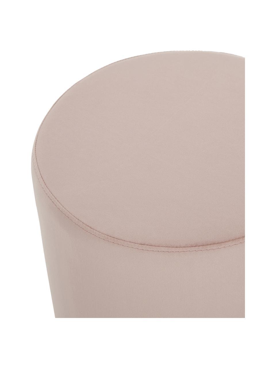Pouf in velluto rosa Daisy, Rivestimento: velluto (poliestere) Con , Struttura: fibra a media densità, Velluto rosa, Ø 38 x Alt. 45 cm