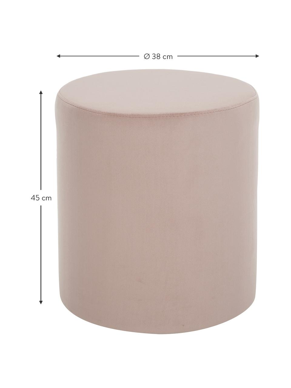 Samt-Hocker Daisy in Rosa, Bezug: Samt (Polyester) Der hoch, Rahmen: Sperrholz, Samt Rosa, Ø 38 x H 45 cm