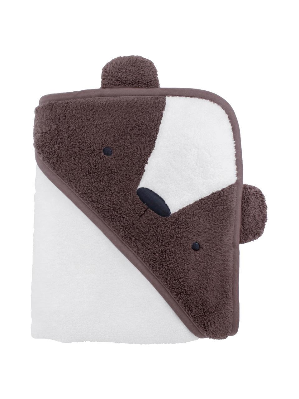Asciugamano con cappuccio Bär, Cotone, Marrone, bianco, Larg. 85 x Lung. 85 cm