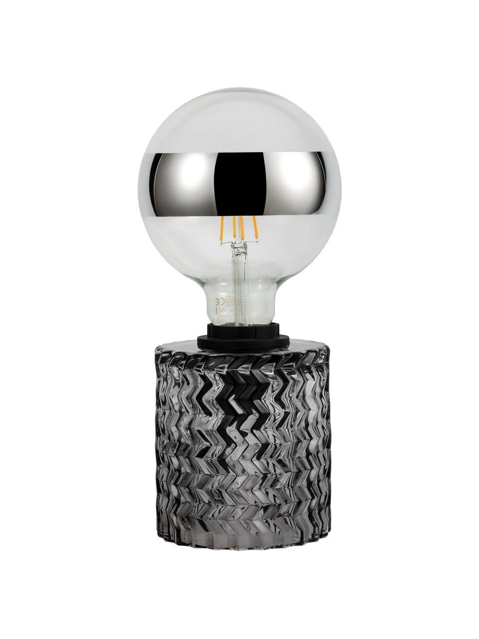Lampada da comodino in vetro grigio Crystal Smoke, Base della lampada: vetro, Grigio, Ø 11 x Alt. 13 cm