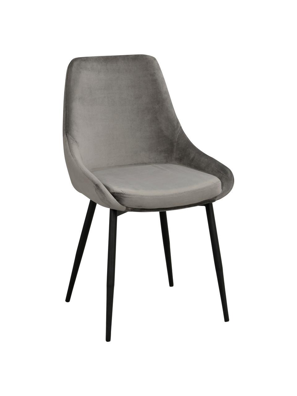 Chaise rembourrée en velours Sierra, 2pièces, Gris, noir