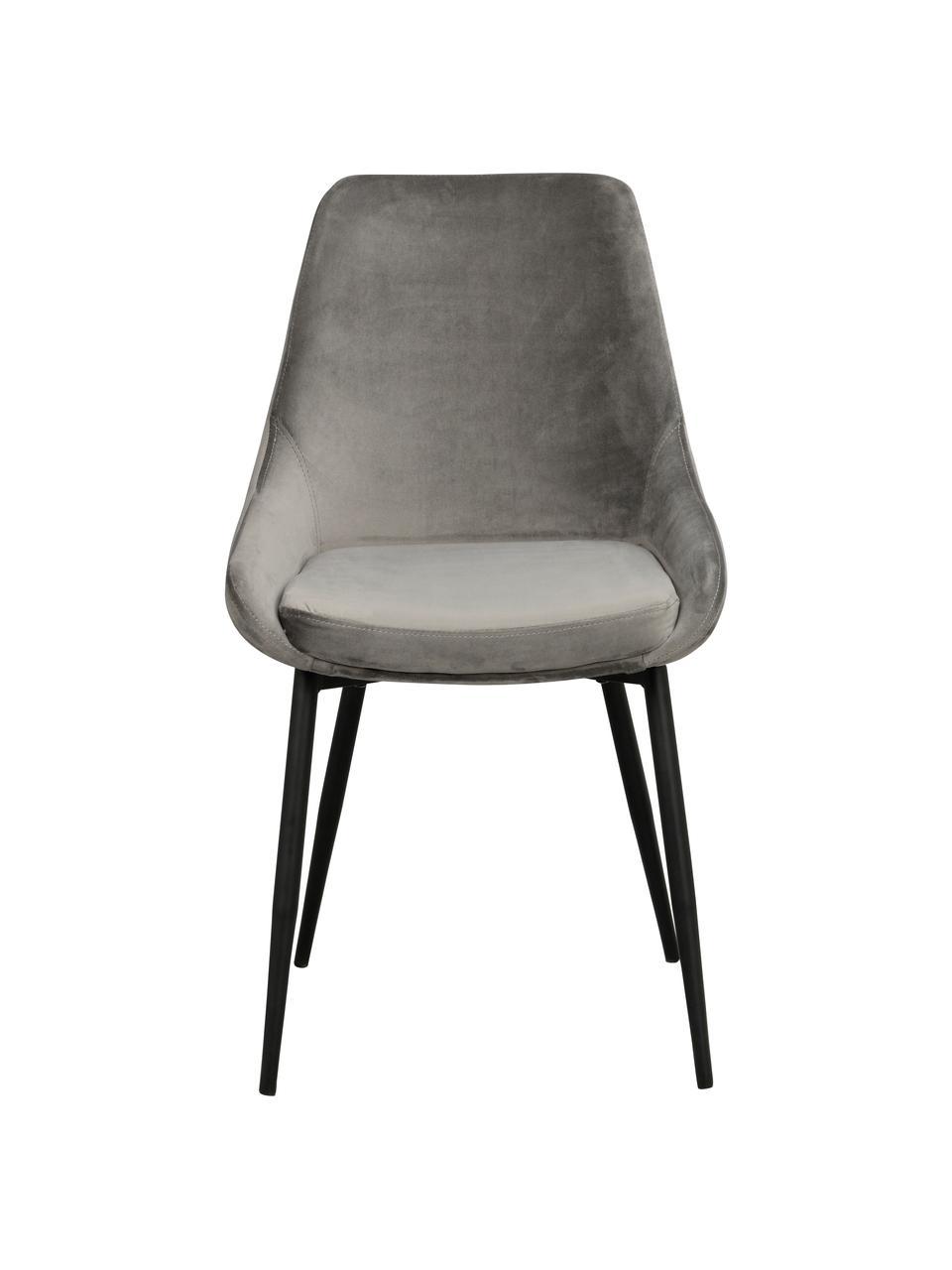 Krzesło tapicerowane z aksamitu Sierra, 2 szt., Tapicerka: aksamit poliestrowy Dzięk, Nogi: metal lakierowany, Aksamitny szary, nogi: czarny, S 49 x G 55 cm